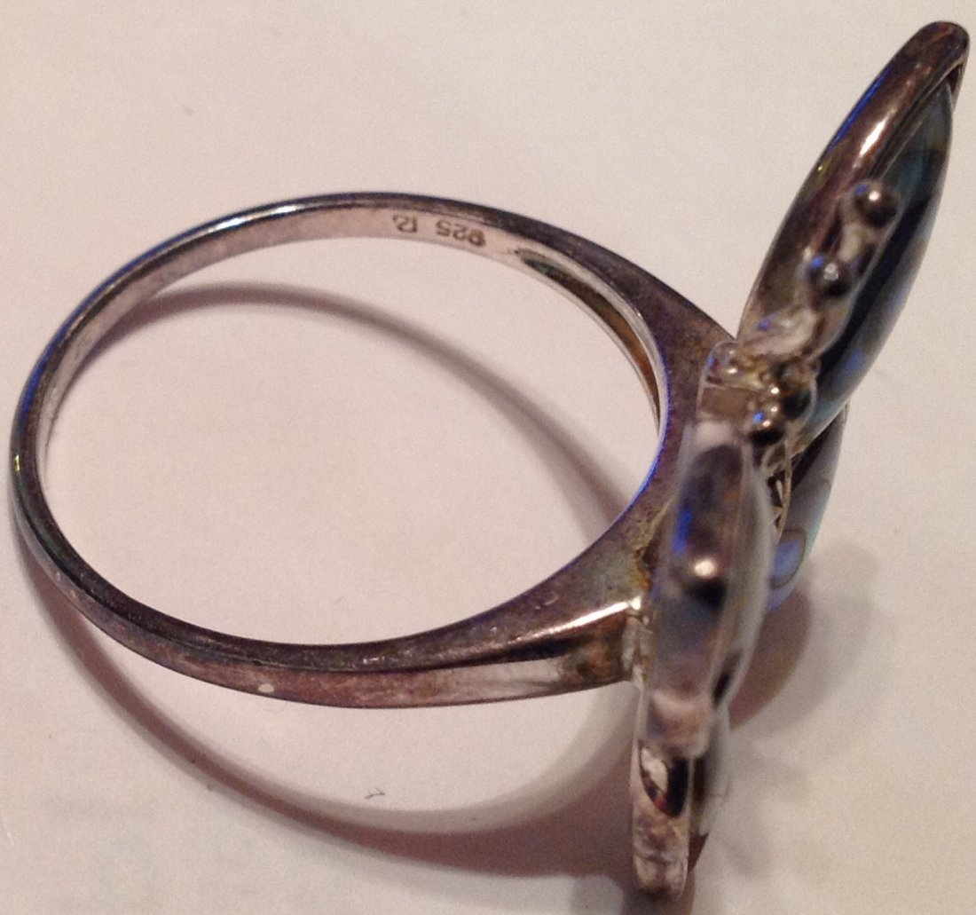 Estate Sterling Large abalone butterfly ring (S) - 4