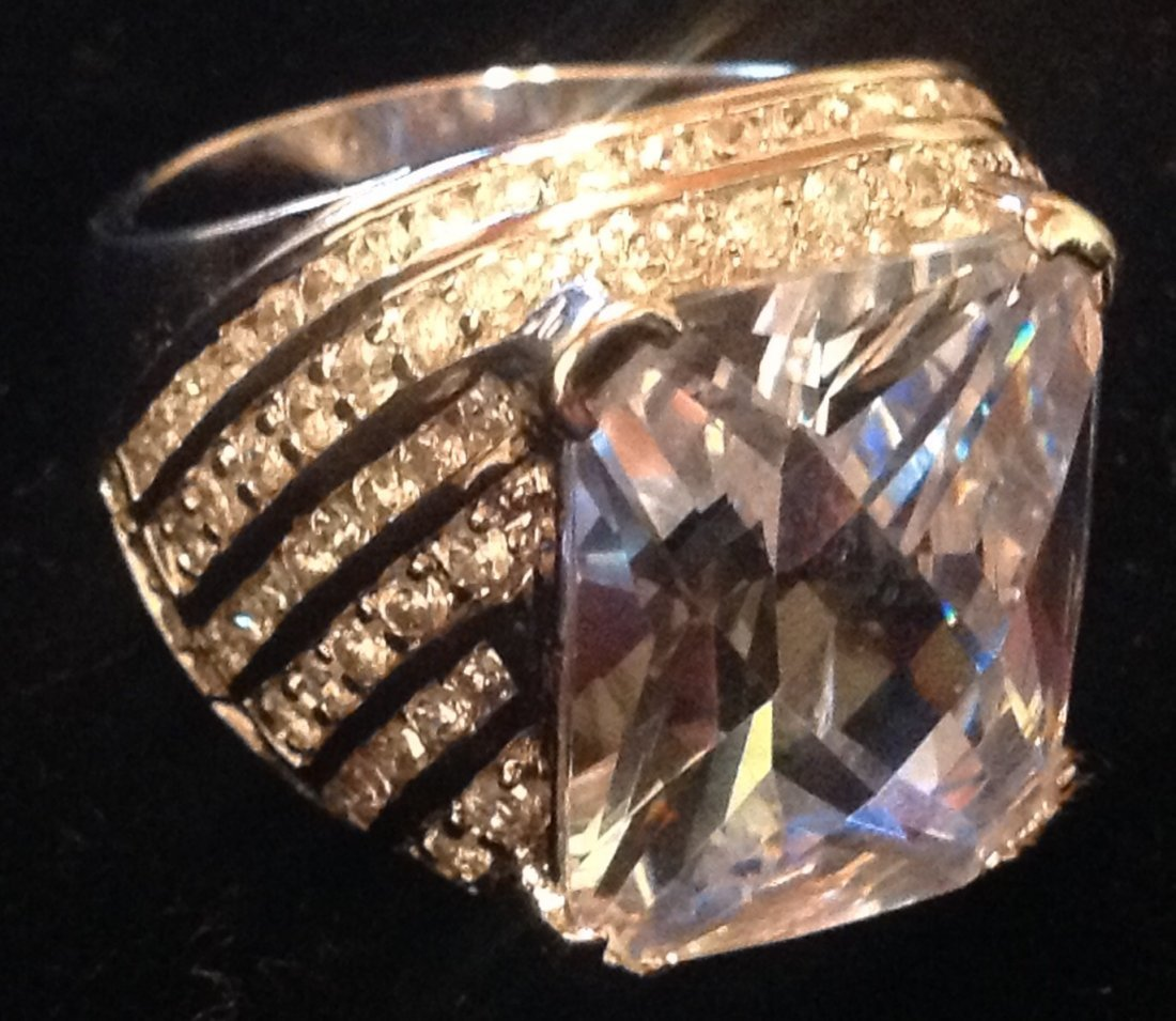 Estate Sterling Charles Winston large CZ ring (S)