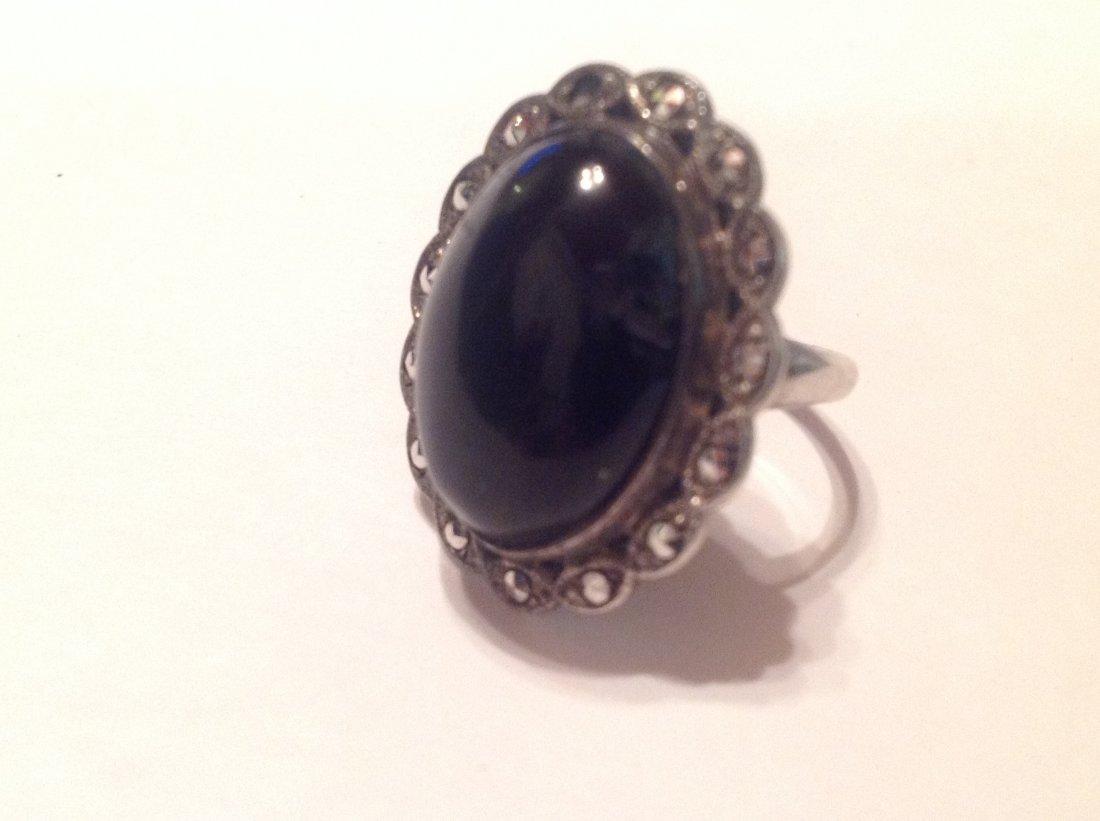 Estate Sterling Silver black onyx ladies ring (S)
