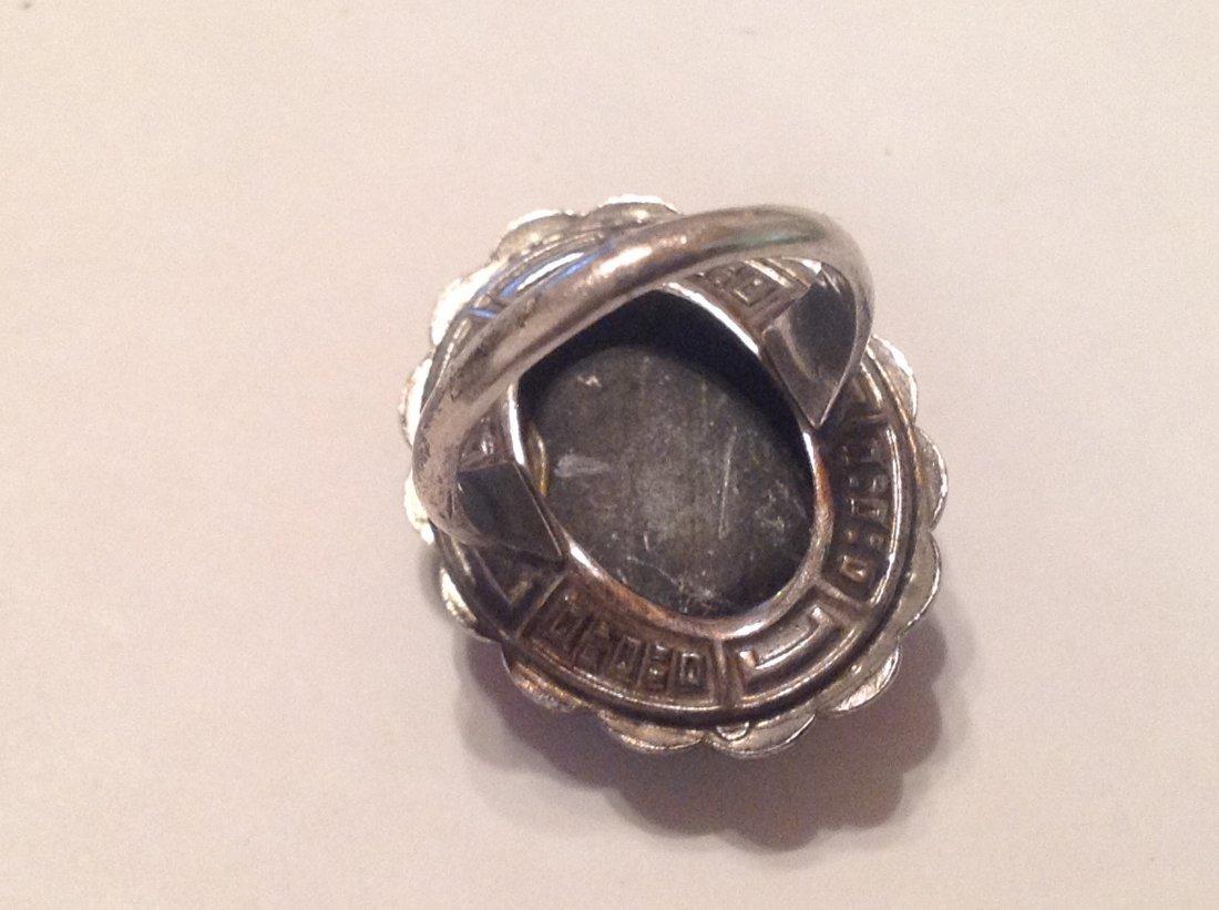 Estate Sterling Silver black onyx ladies ring (S) - 2
