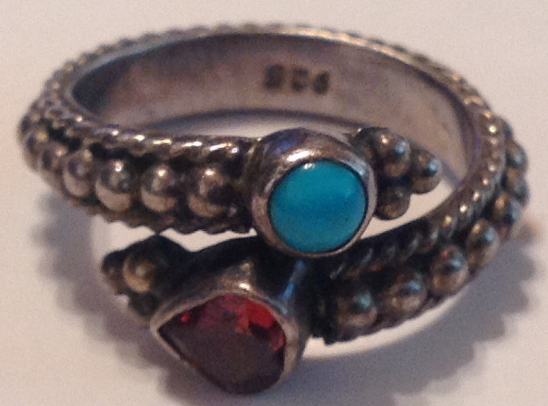 estate vintage Sterling gemstone bypass ring (S) - 4