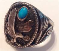 Navajo Silver Ray Sterling large eagle ring (S)