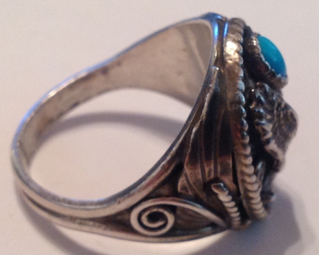Navajo Silver Ray Sterling large eagle ring (S) - 2