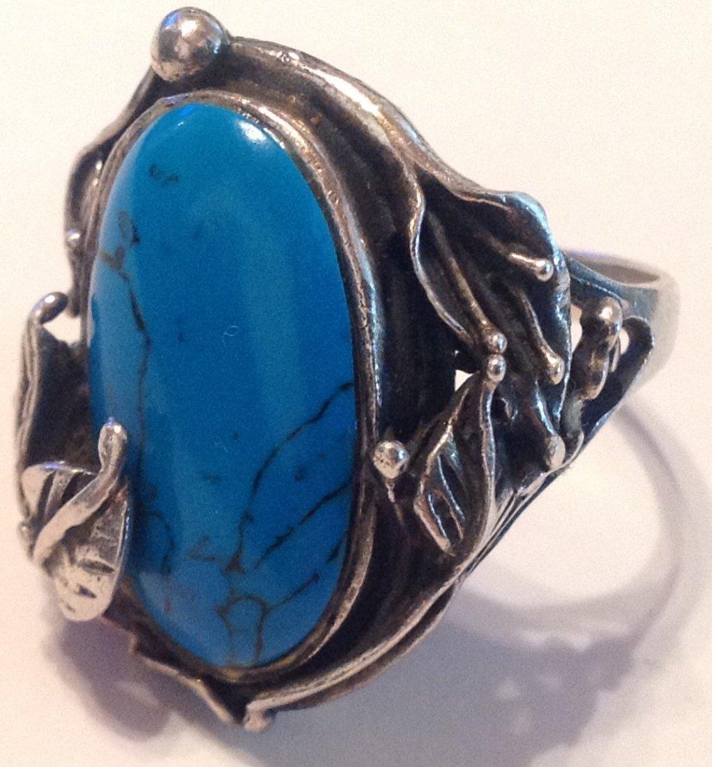 Estate vintage Sterling Gemstone ornate ring (S)