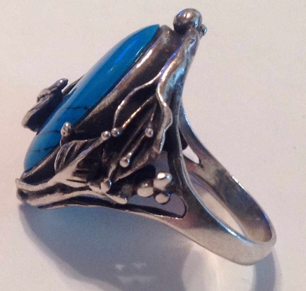 Estate vintage Sterling Gemstone ornate ring (S) - 2