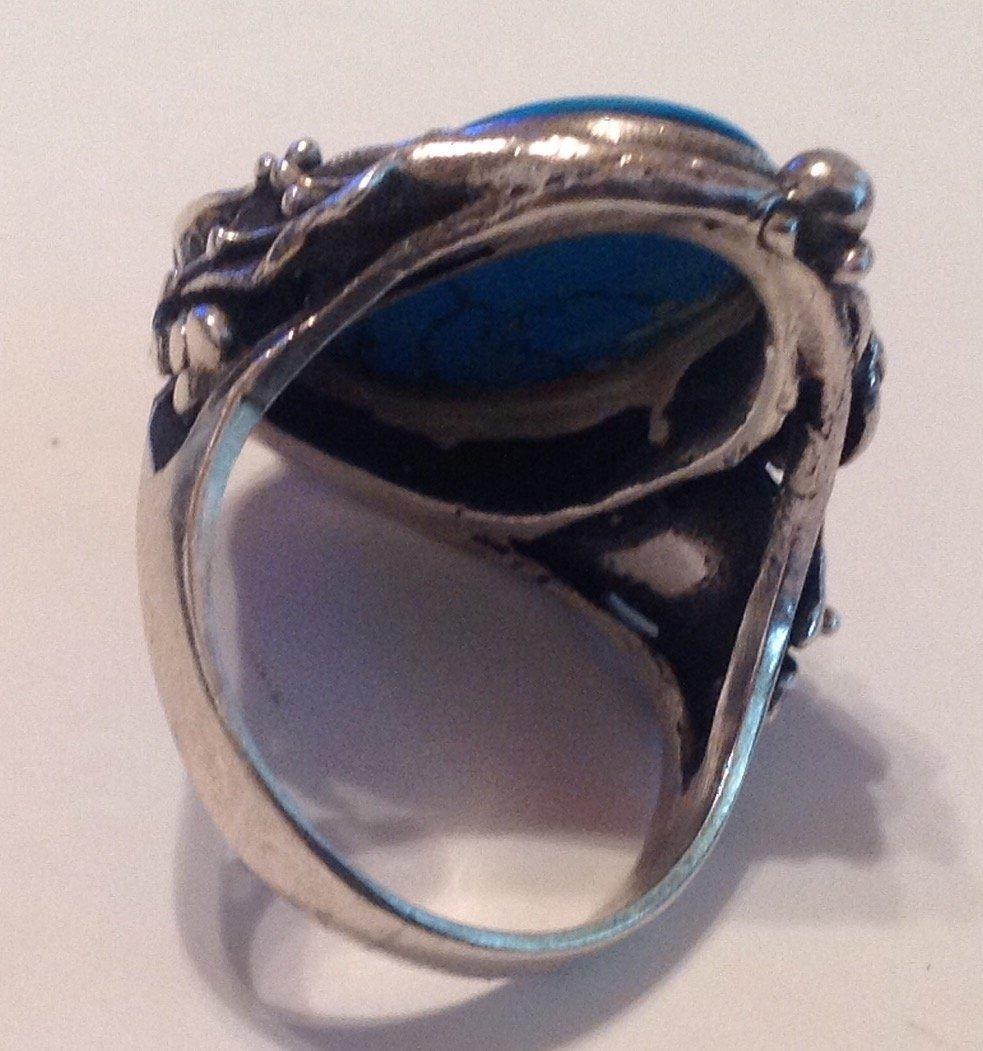 Estate vintage Sterling Gemstone ornate ring (S) - 3