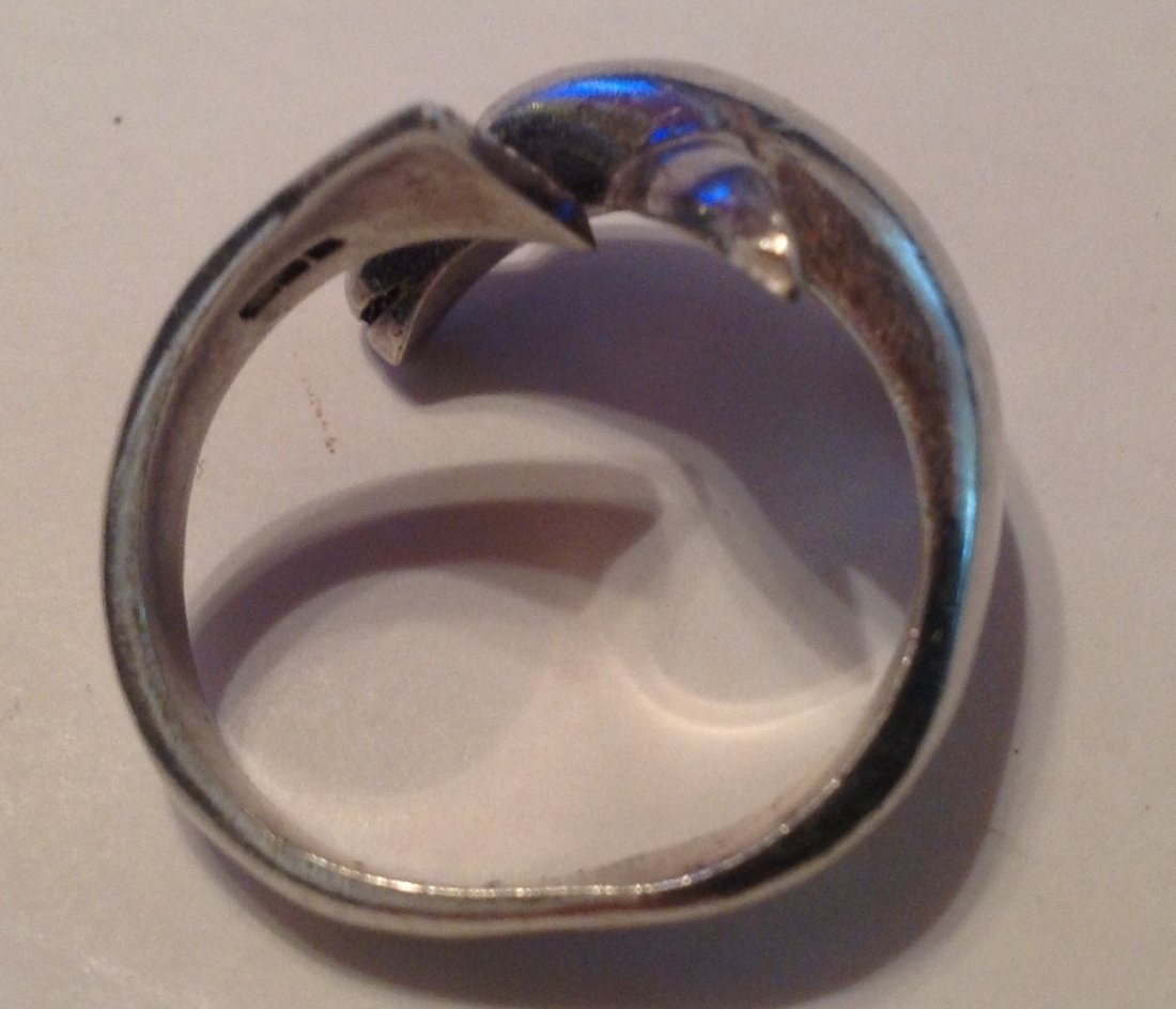 Estate vintage Sterling 3D figurative dolphin ring (S) - 2