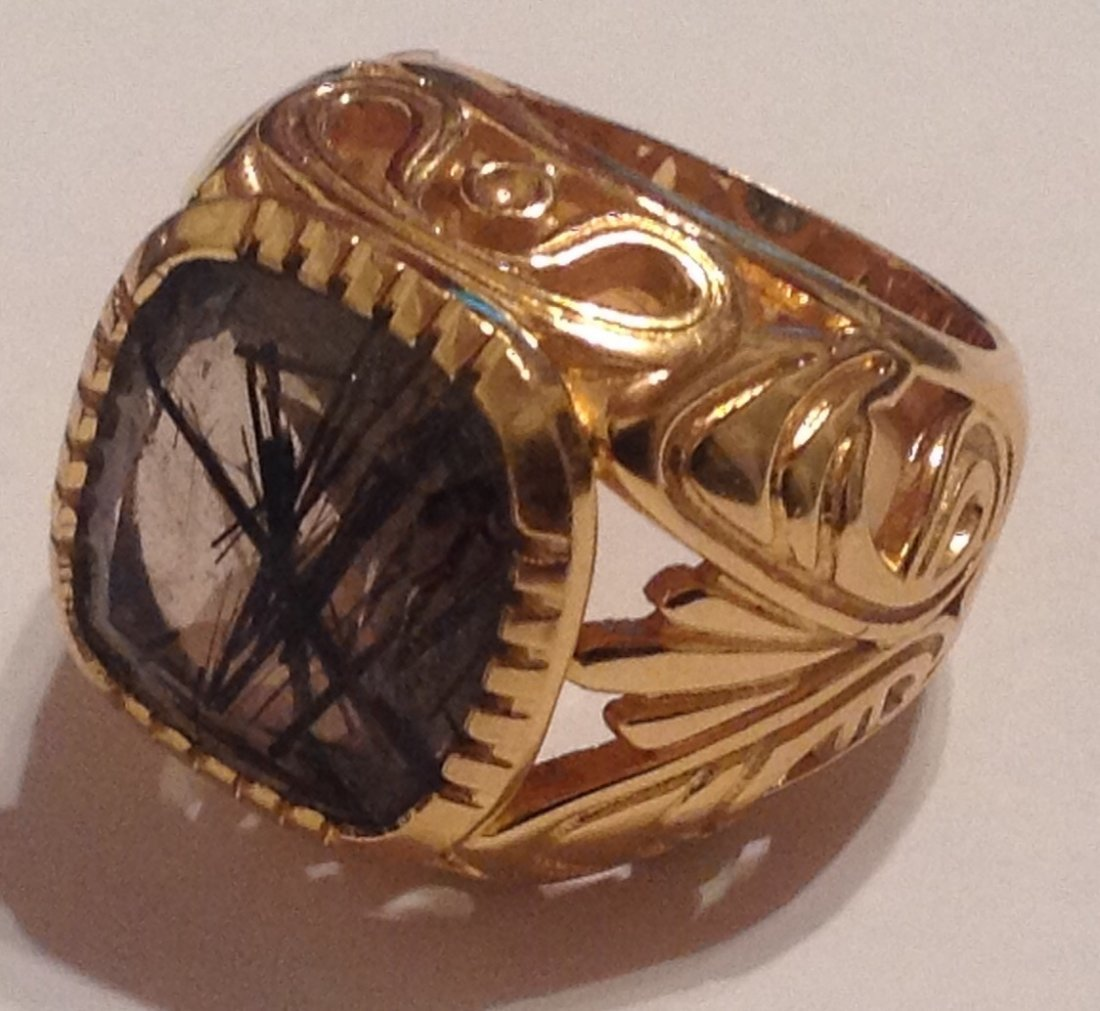 Estate Bali Indonesia gold vermeil Sterling ring (S)