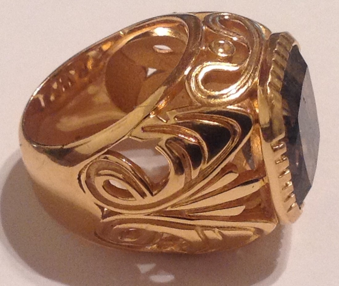 Estate Bali Indonesia gold vermeil Sterling ring (S) - 2