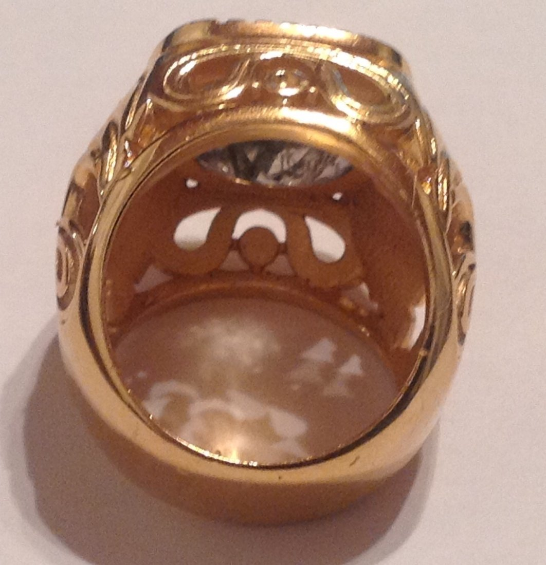 Estate Bali Indonesia gold vermeil Sterling ring (S) - 3