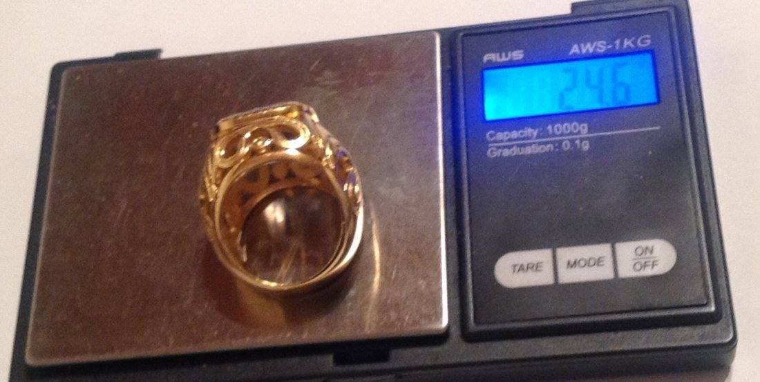 Estate Bali Indonesia gold vermeil Sterling ring (S) - 5