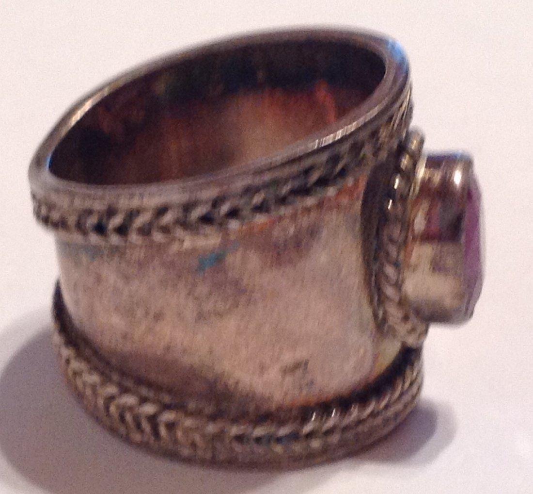 Estate vintage Bali cigar band ruby Sterling ring (S) - 2