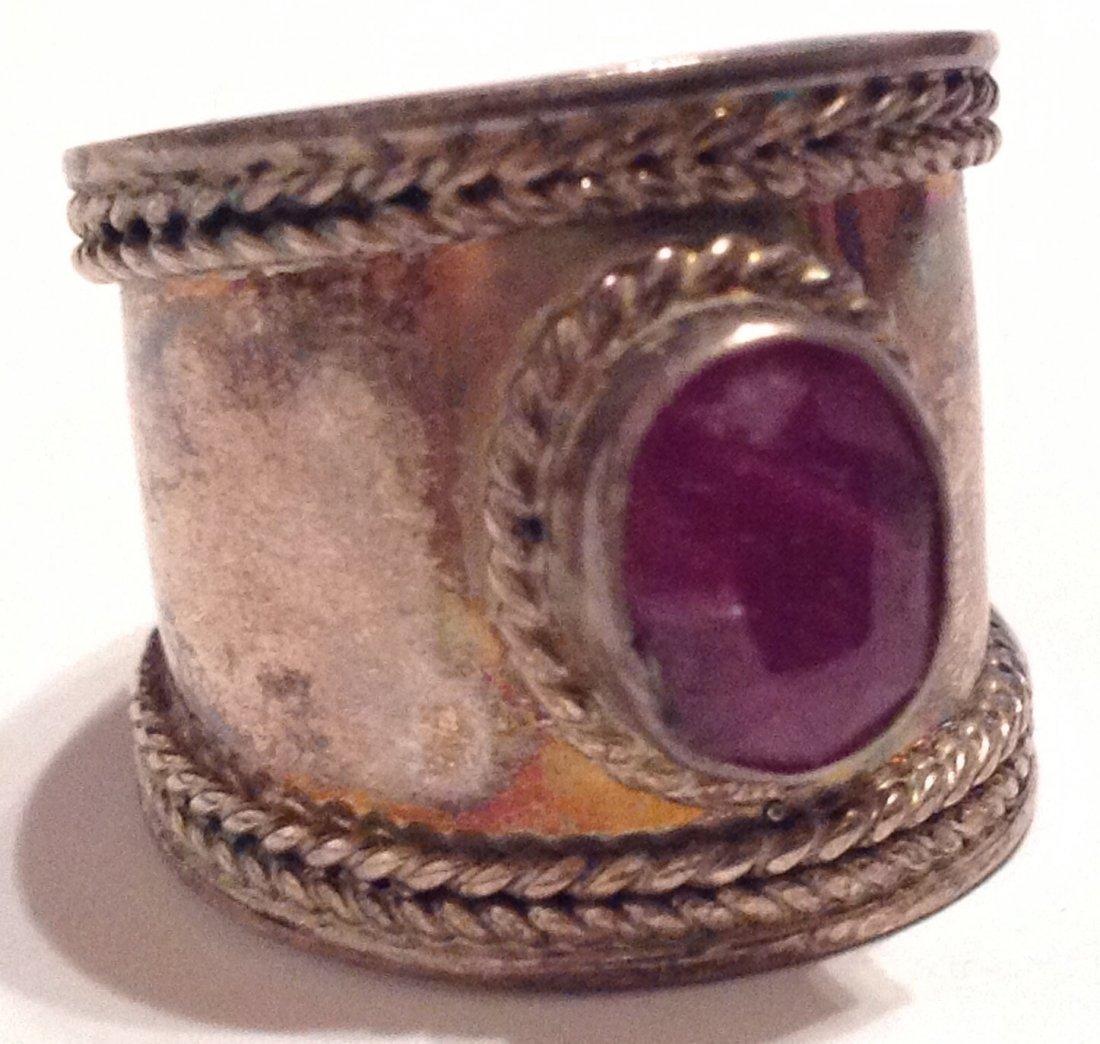 Estate vintage Bali cigar band ruby Sterling ring (S) - 3