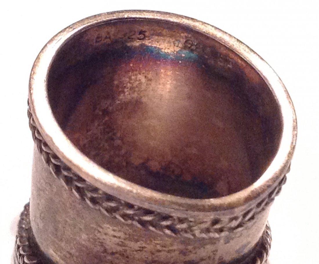 Estate vintage Bali cigar band ruby Sterling ring (S) - 4