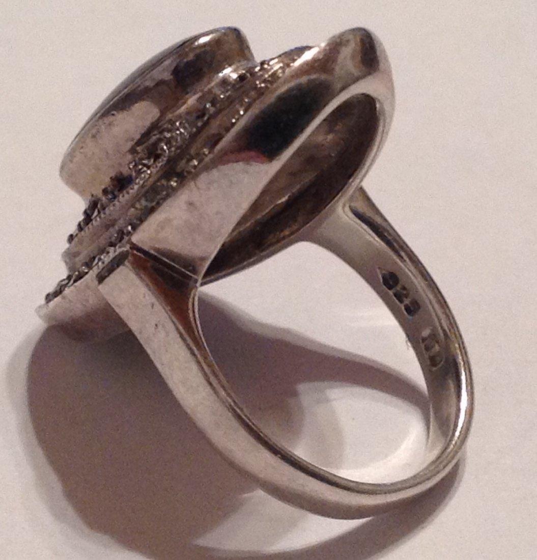 Estate vintage Sterling onyx marcasite ring (S) - 2