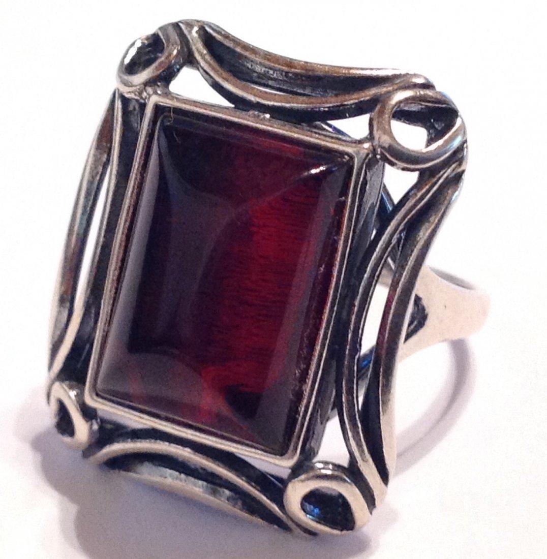Estate vintage Poland Baltic amber Sterling ring (S)