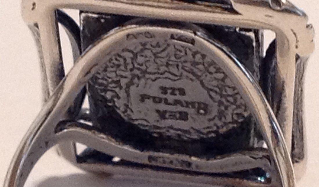 Estate vintage Poland Baltic amber Sterling ring (S) - 3