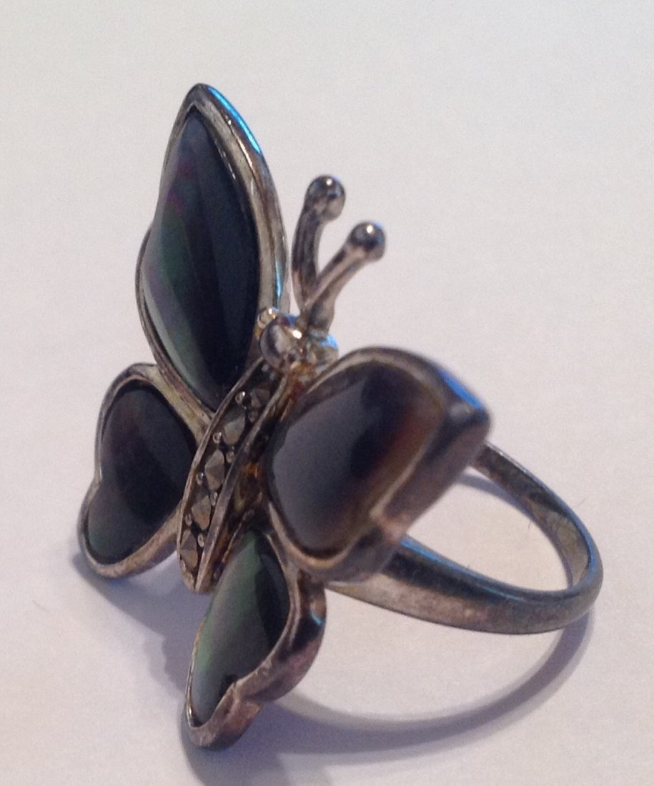Estate vintage Butterfly abalone Sterling ring (S) - 2