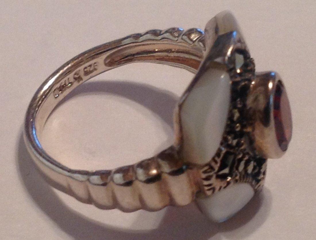 Estate vintage Gemstone mop Sterling ring (S) - 2