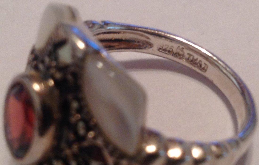 Estate vintage Gemstone mop Sterling ring (S) - 3