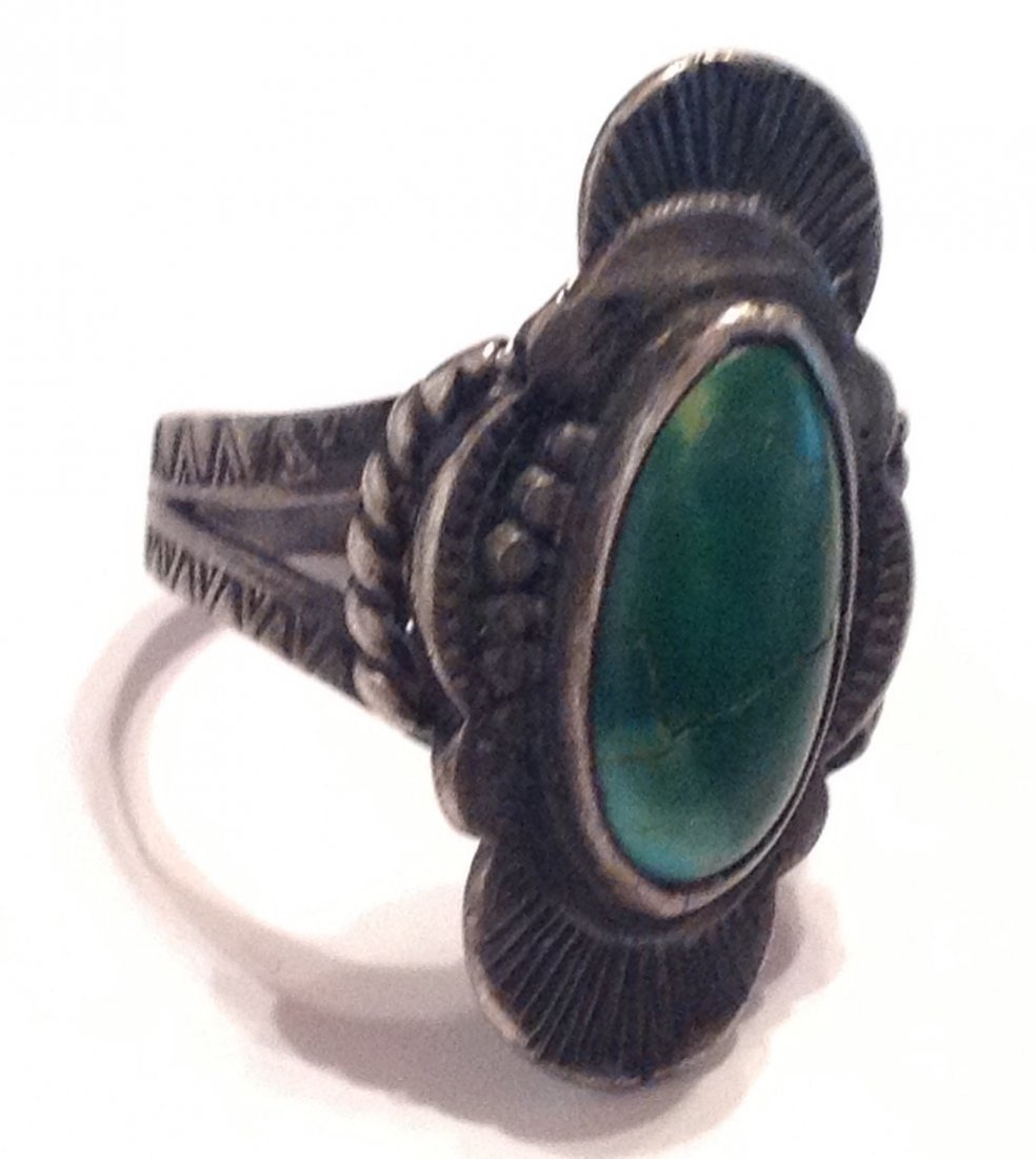 Estate Antique old pawn turquoise Sterling ring (S)