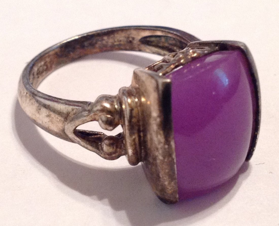 Estate vintage gemstone Sterling ring (S)