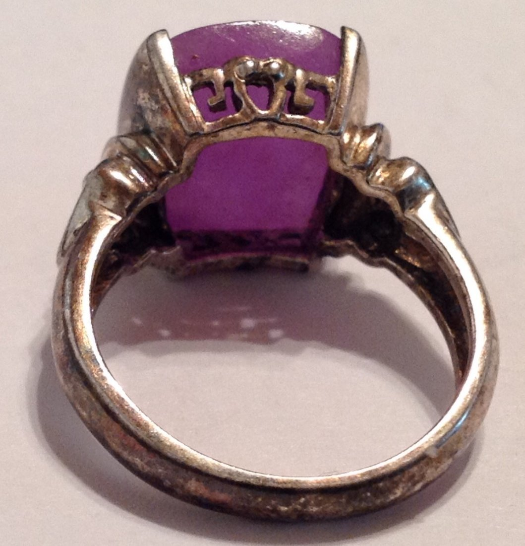 Estate vintage gemstone Sterling ring (S) - 3