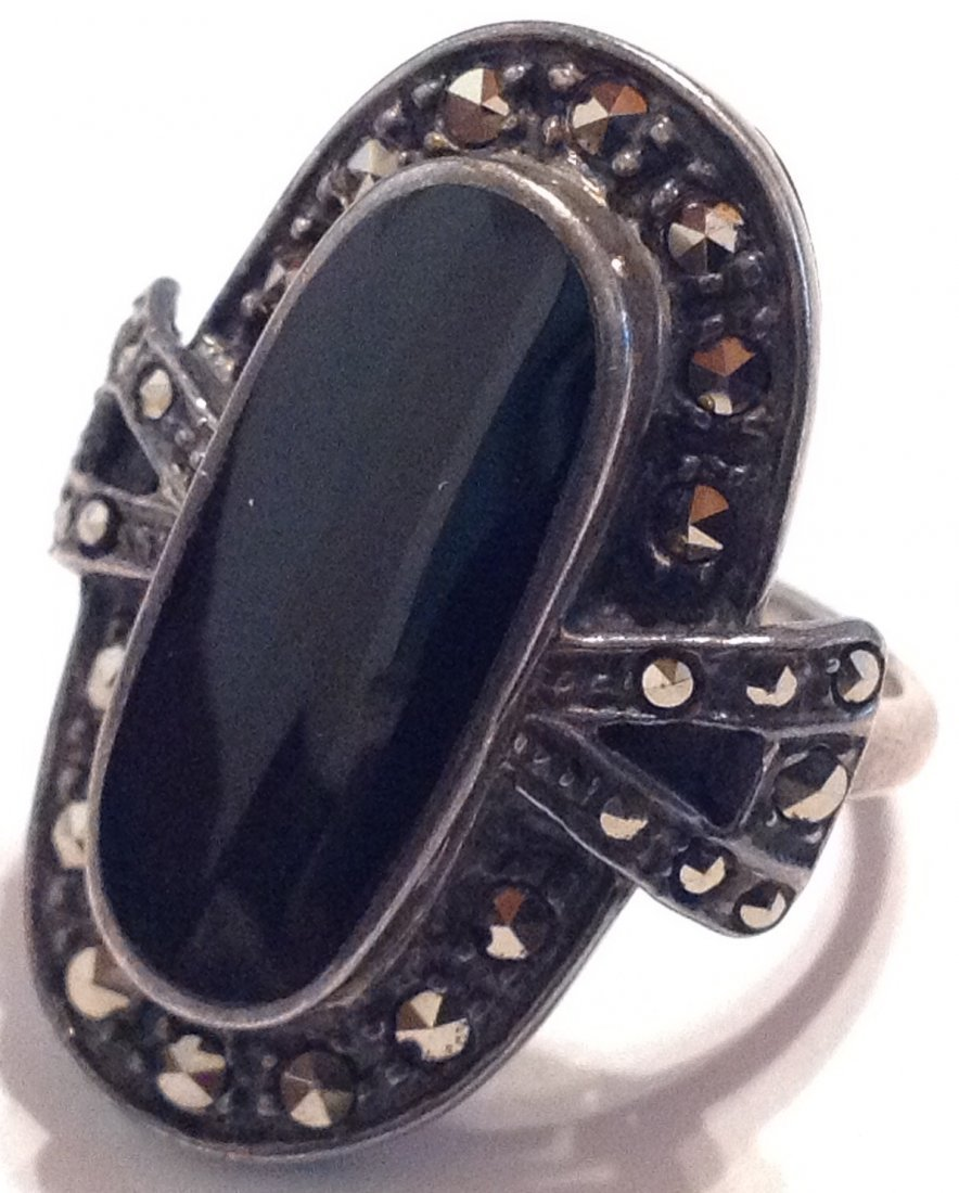 Estate vintage Thailand onyx Sterling ring (S)