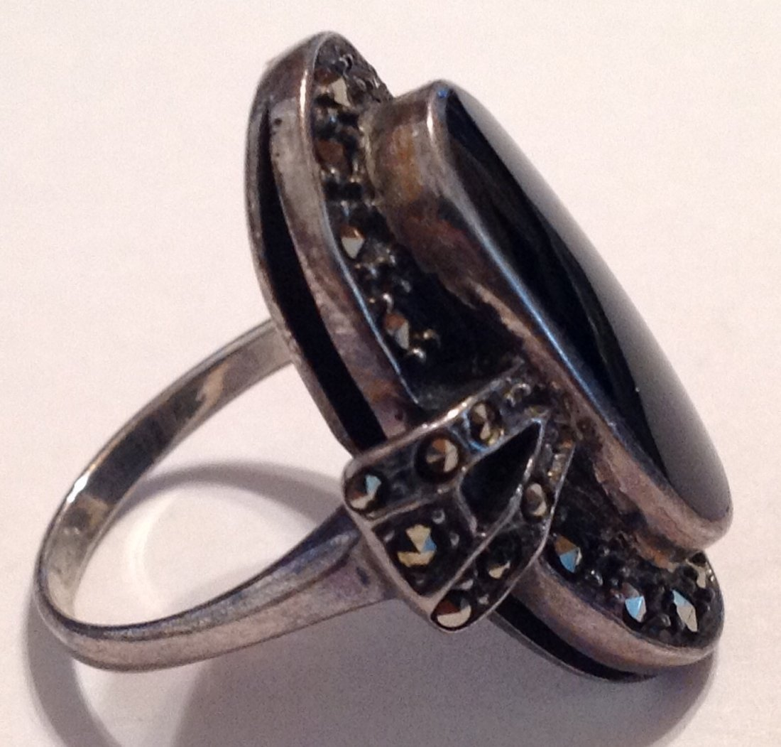 Estate vintage Thailand onyx Sterling ring (S) - 2