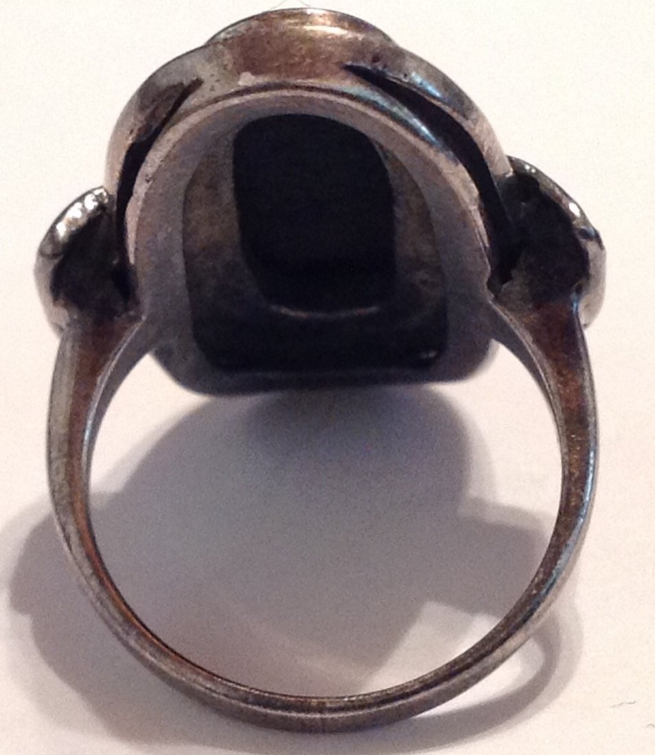 Estate vintage Thailand onyx Sterling ring (S) - 3