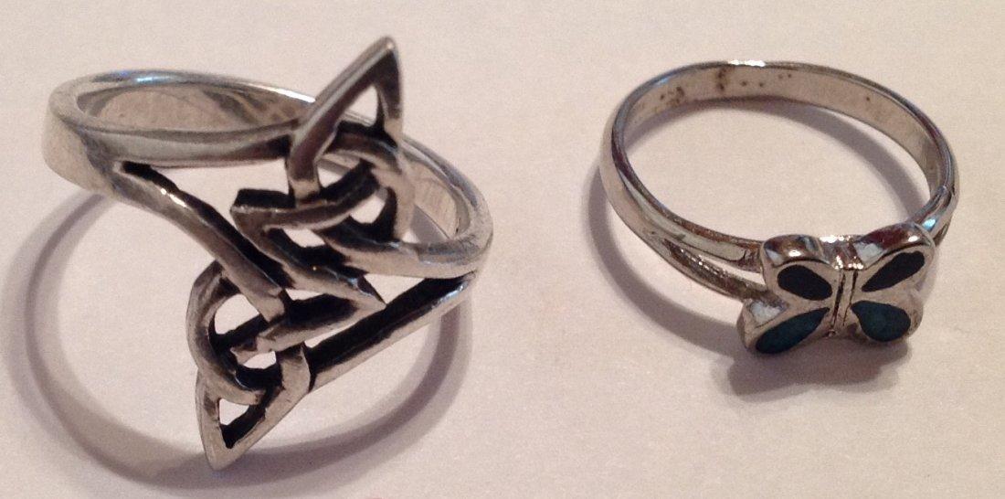 Estate vintage oof of 2 Sterling ring (S)