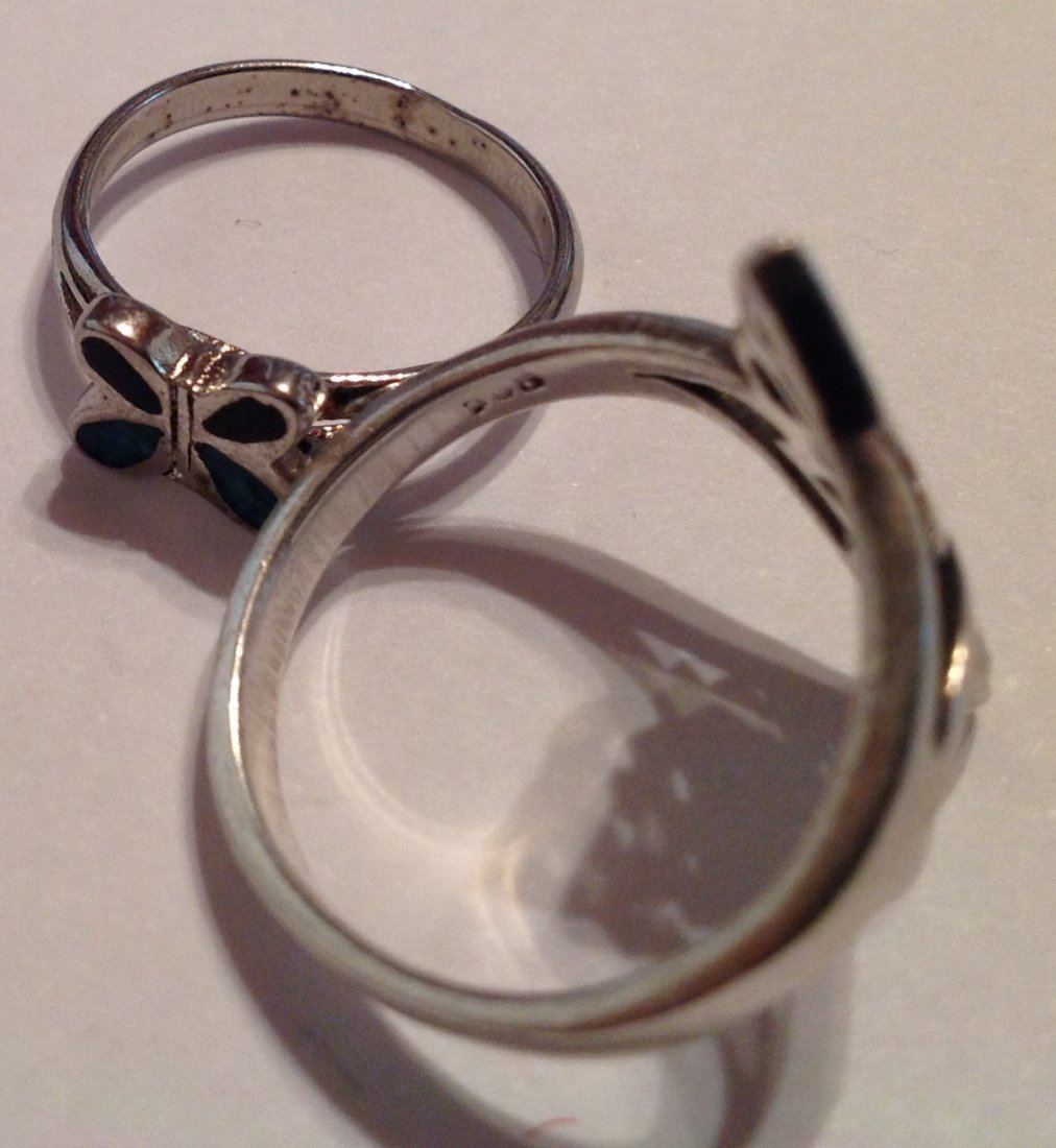 Estate vintage oof of 2 Sterling ring (S) - 3