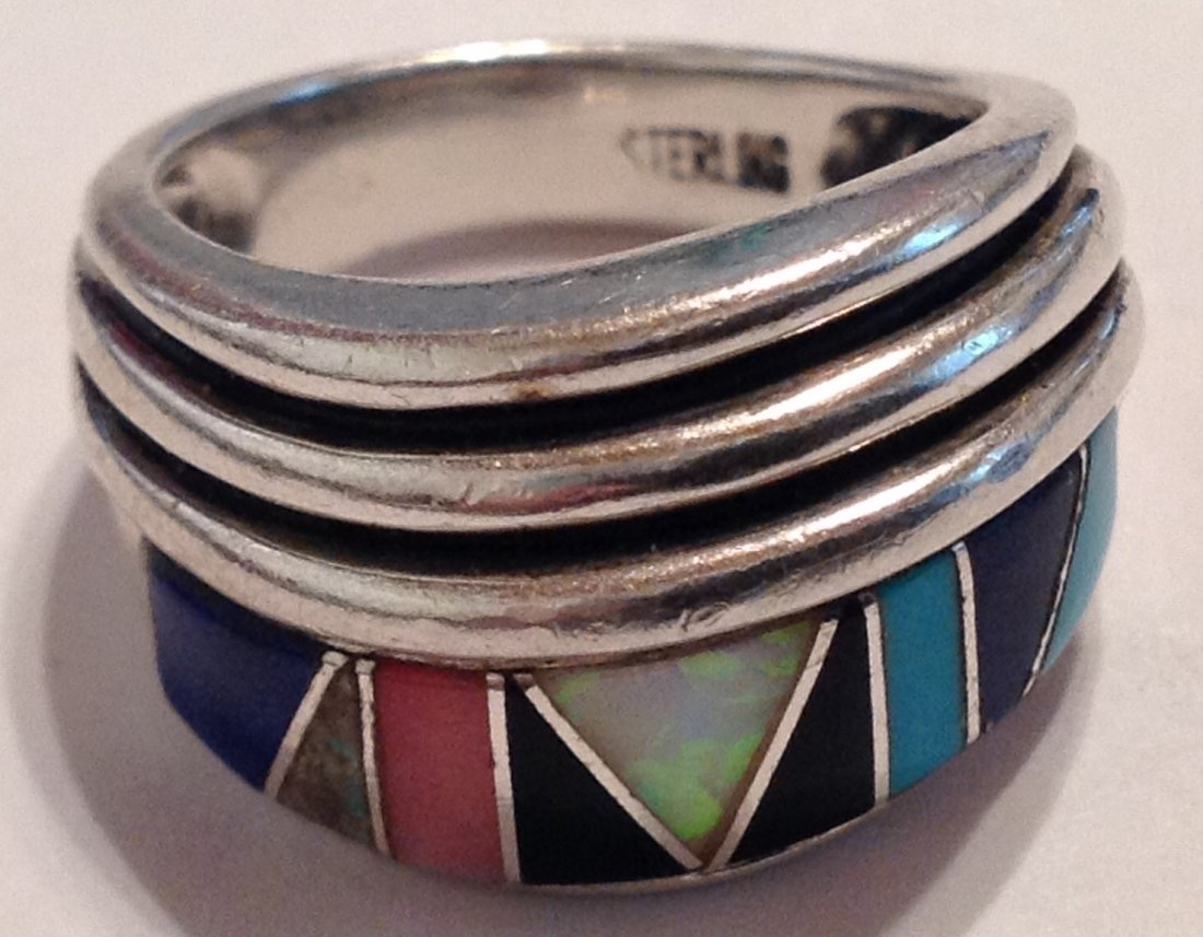 Estate vintage multi stone inlay Sterling ring (S)