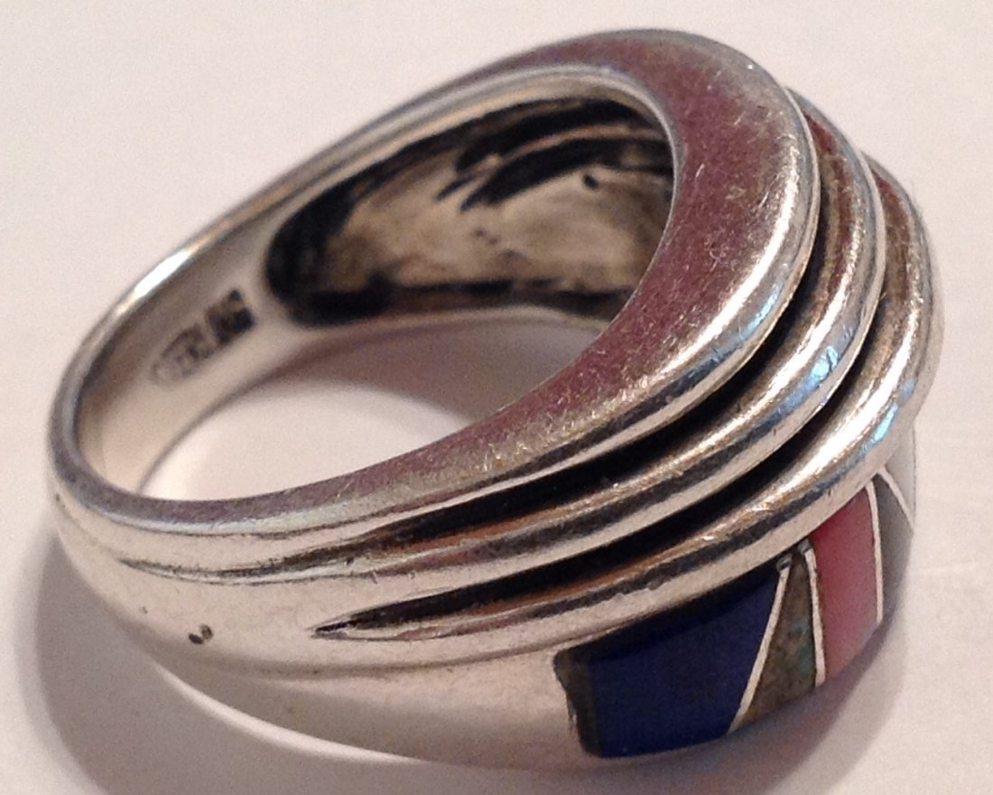 Estate vintage multi stone inlay Sterling ring (S) - 2