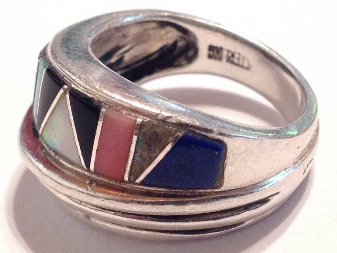 Estate vintage multi stone inlay Sterling ring (S) - 3