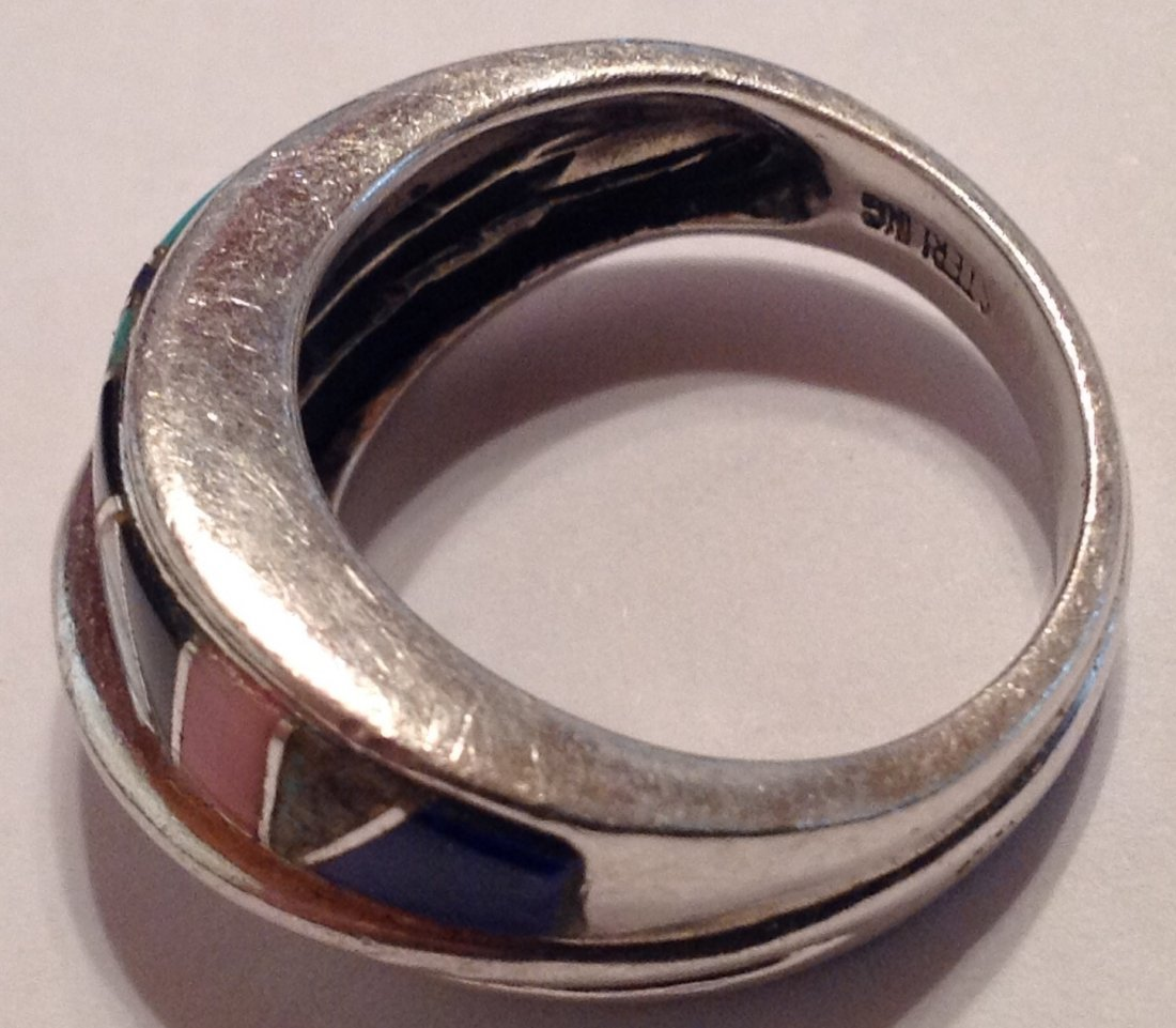 Estate vintage multi stone inlay Sterling ring (S) - 4