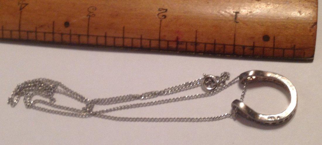 Estate vintage Sterling horseshoe cz stone necklace (S) - 2