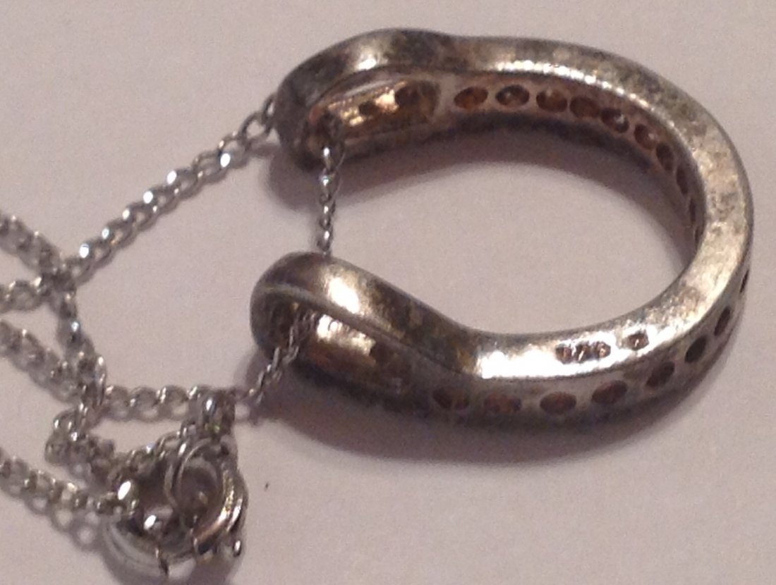 Estate vintage Sterling horseshoe cz stone necklace (S) - 3
