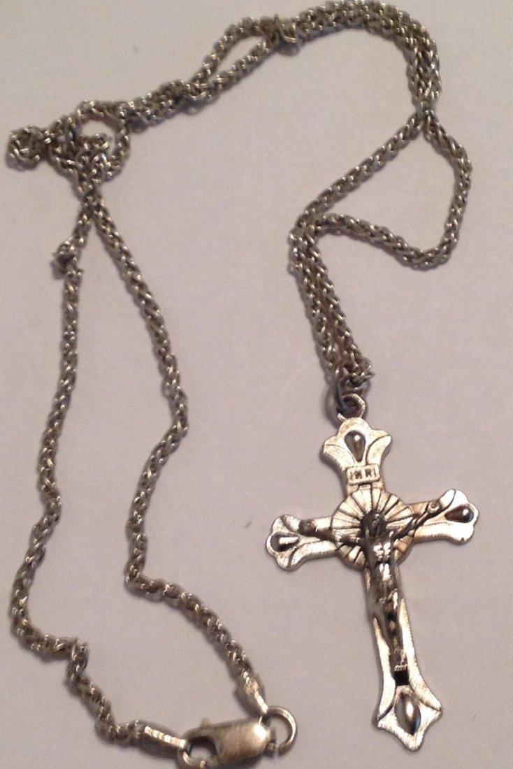 Estate vintage Sterling necklace & metal crucifix  (S)