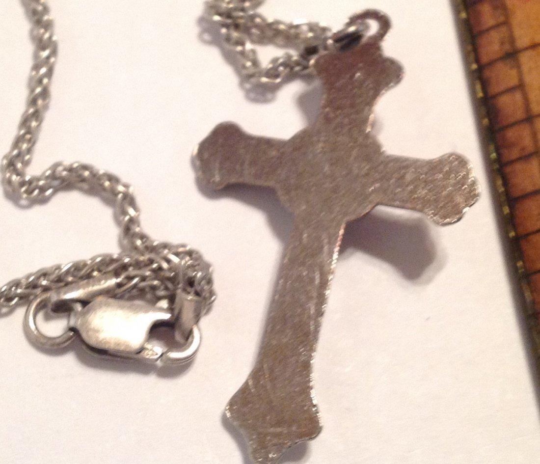 Estate vintage Sterling necklace & metal crucifix  (S) - 3