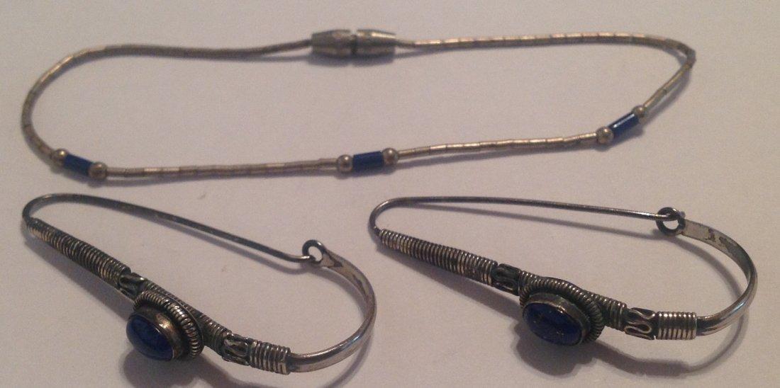 Estate native Sterling lapis earrings bracelet set  (S)