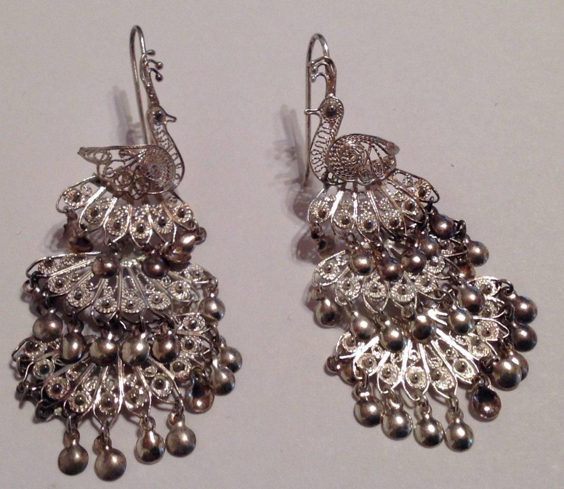 Estate sterling Silver peacock filigree earrings  (S)