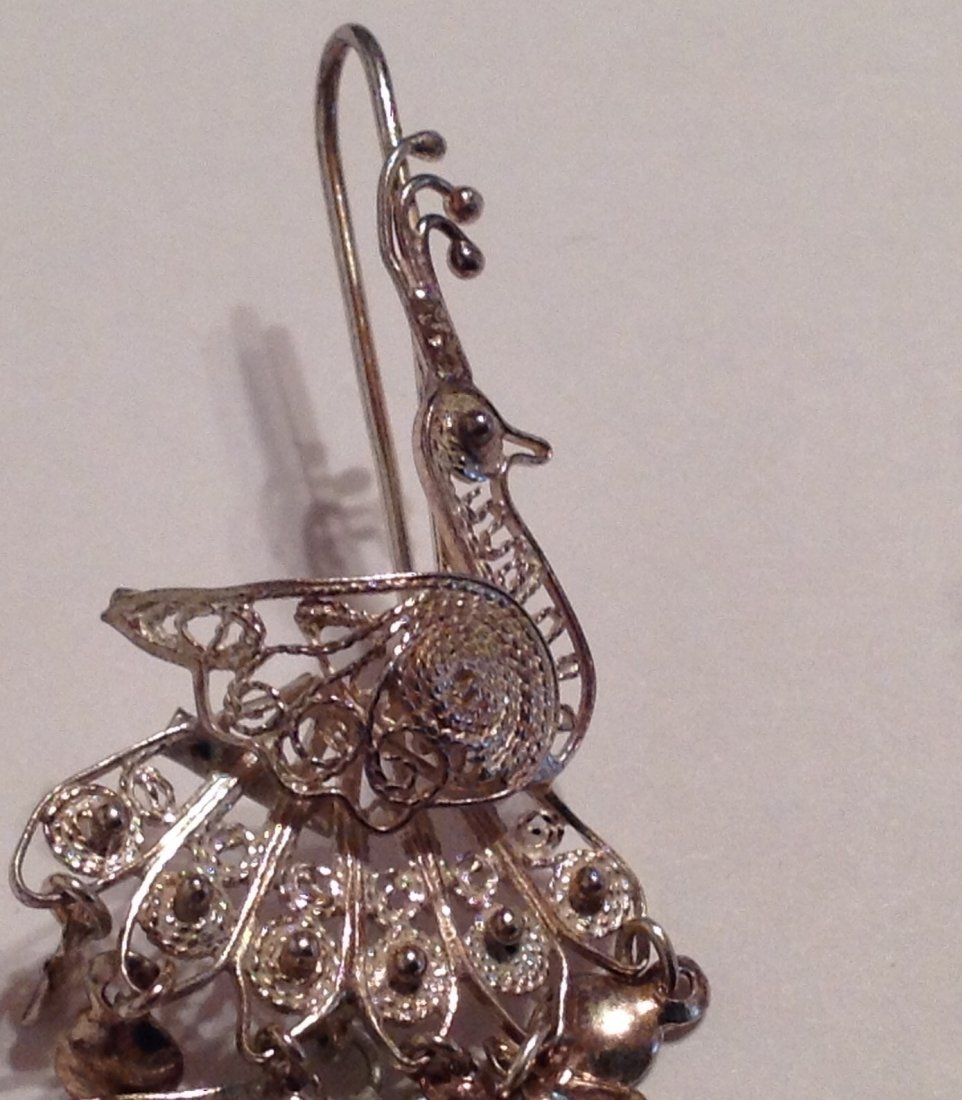 Estate sterling Silver peacock filigree earrings  (S) - 2