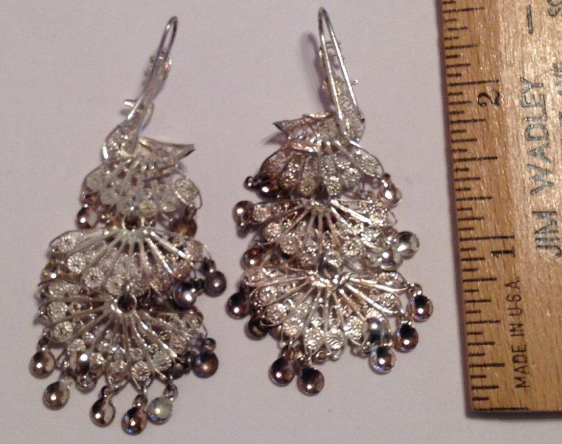 Estate sterling Silver peacock filigree earrings  (S) - 3