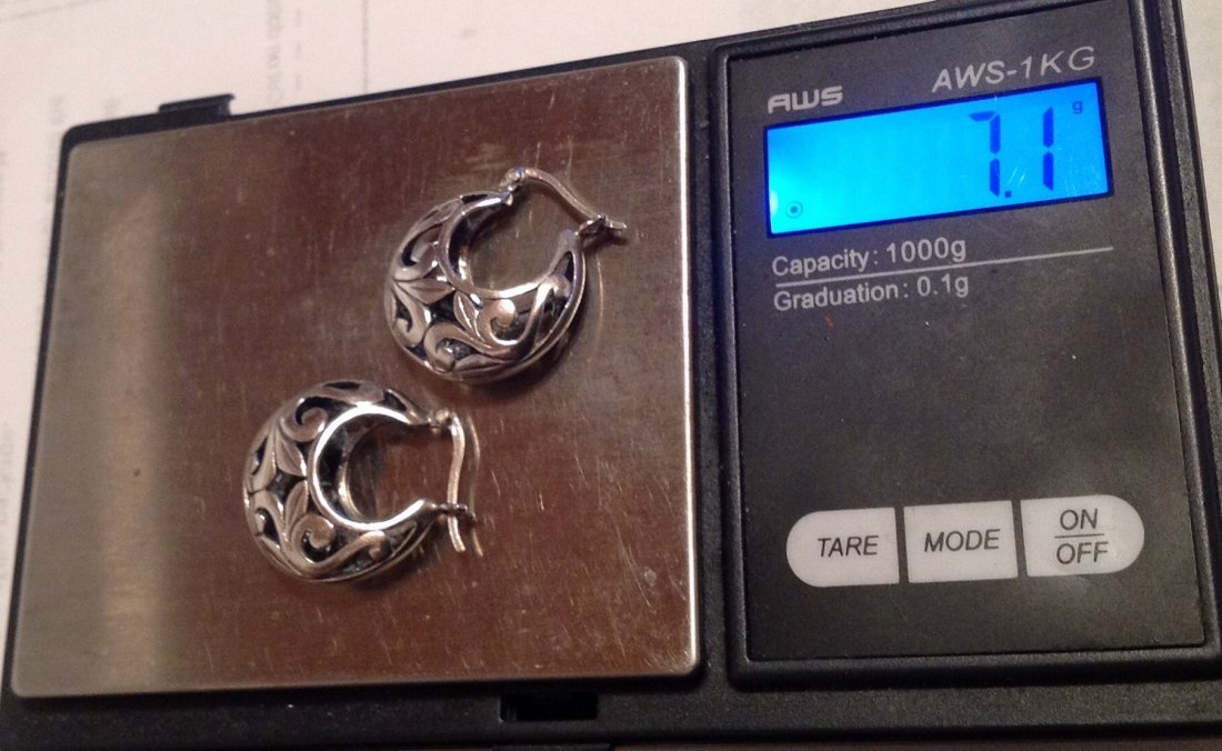Estate sterling Silver scrolled earrings  (S) - 4