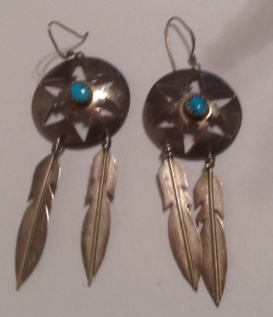Estate sterling Navajo D. Skeets large earrings  (S) - 2