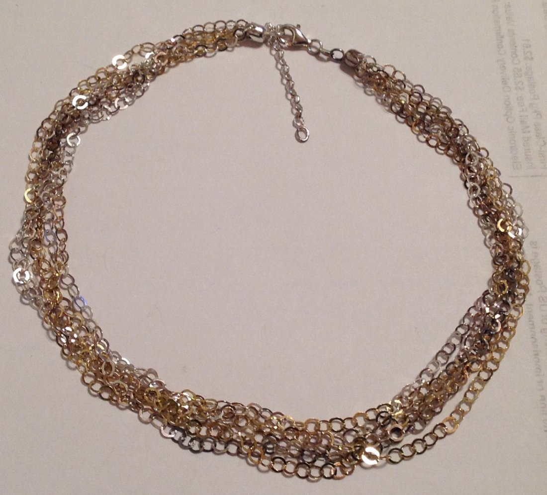 """Estate sterling Italy multi strand 15"""" necklace  (S)"""