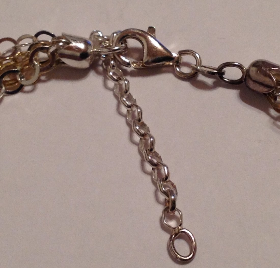 """Estate sterling Italy multi strand 15"""" necklace  (S) - 3"""