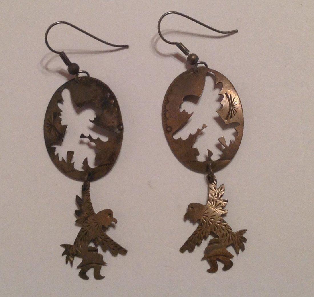 Estate native large sterling dangle earrings (S)