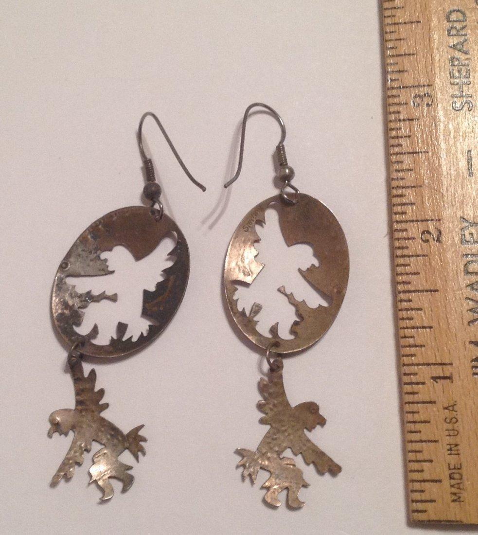 Estate native large sterling dangle earrings (S) - 2